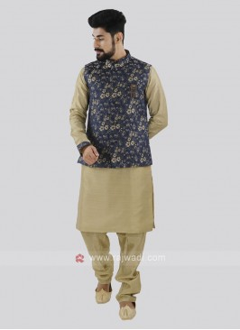 Dark Khaki & Blue Koti Set