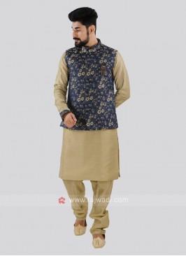 Dark Khaki & Blue Nehru Jacket Suit