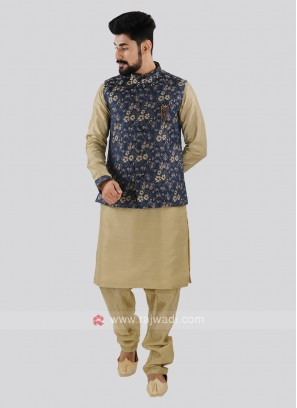 Dark Khaki & Blue Nehru Jacket Suit