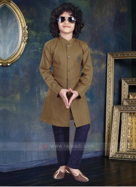 Dark Khaki & Navy Color Kurta Pajama