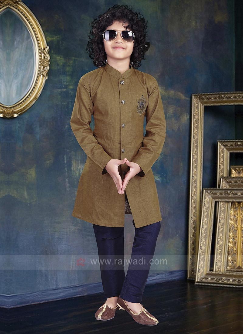 Dark Khaki & Navy Color Kurta Pajama