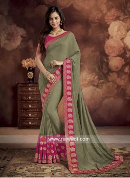 Dark Khaki Wedding Saree