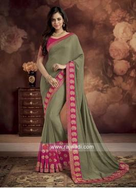 Dark Khaki Wedding Saree