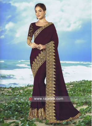 Dark Magenta Art Silk saree with matching blouse.