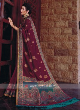 Dark Magenta Banarasi Silk Saree