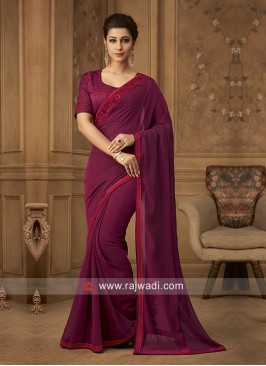 Dark Magenta Border Work Saree