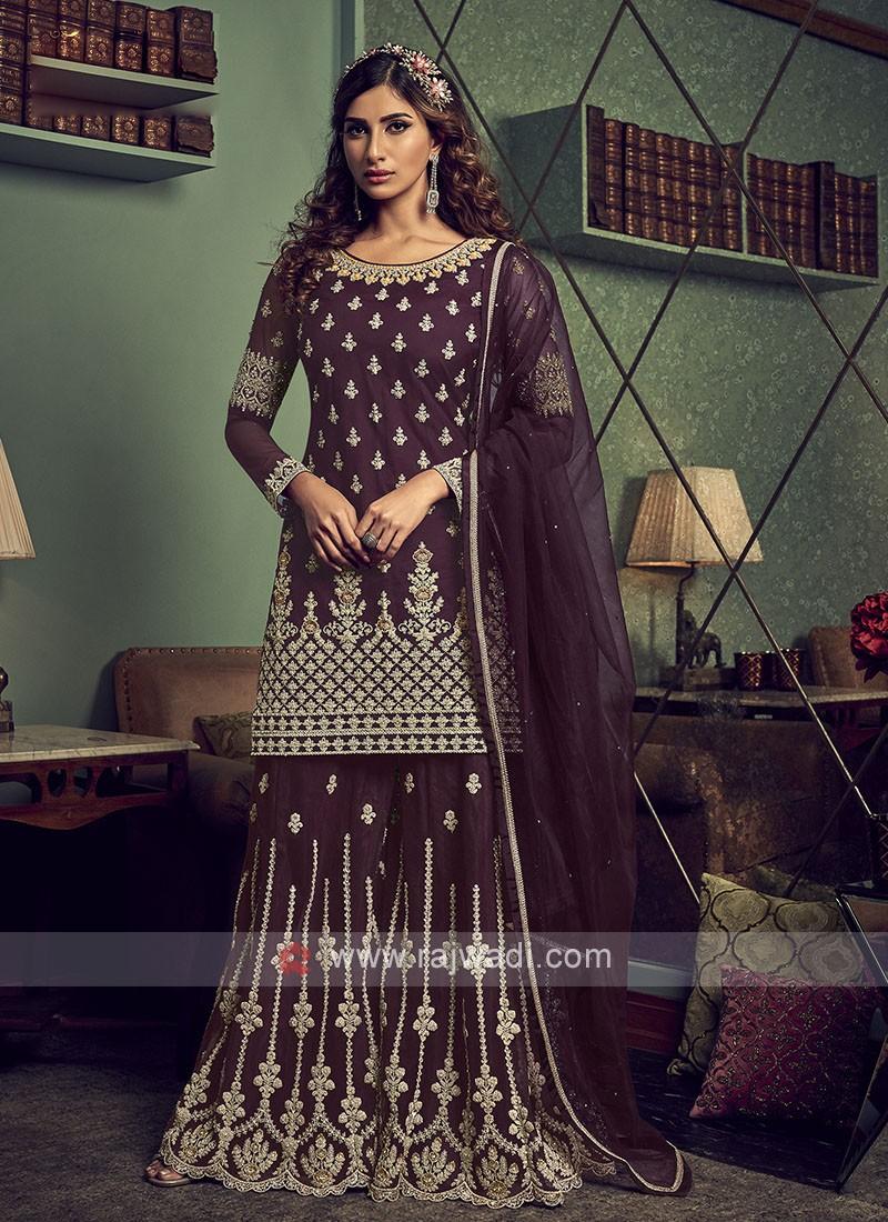 Dark Magenta Color Net Dress Material