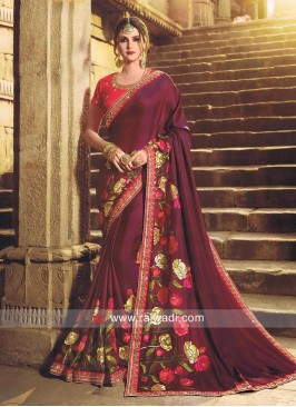 Dark Magenta Flower Work Sari with Red Blouse