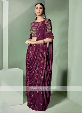Dark Magenta Party Wear Saree