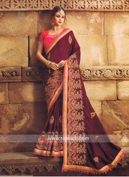Dark Magenta Saree with Deep Pink Blouse