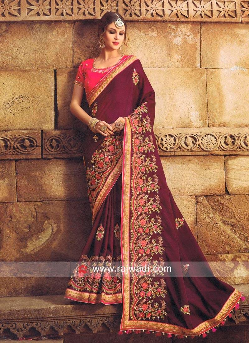 Dark Magenta Saree with Deep Pink Blouse