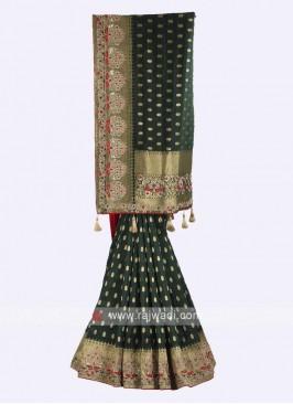 Dark mehendi green banarasi silk saree
