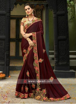 Dark Maroon Art Silk Saree