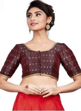 Dark Maroon Blouse with Lace