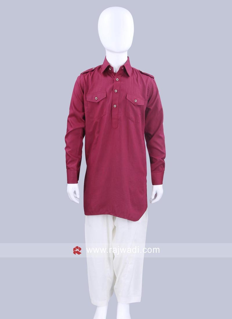 Dark Maroon Boys Pathani Set