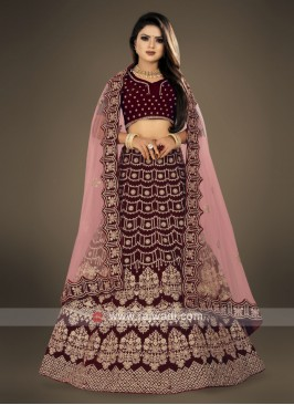 Dark maroon bridal Lehenga Choli