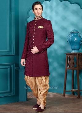 Dark Maroon Brocade Silk Fabric Indo Western