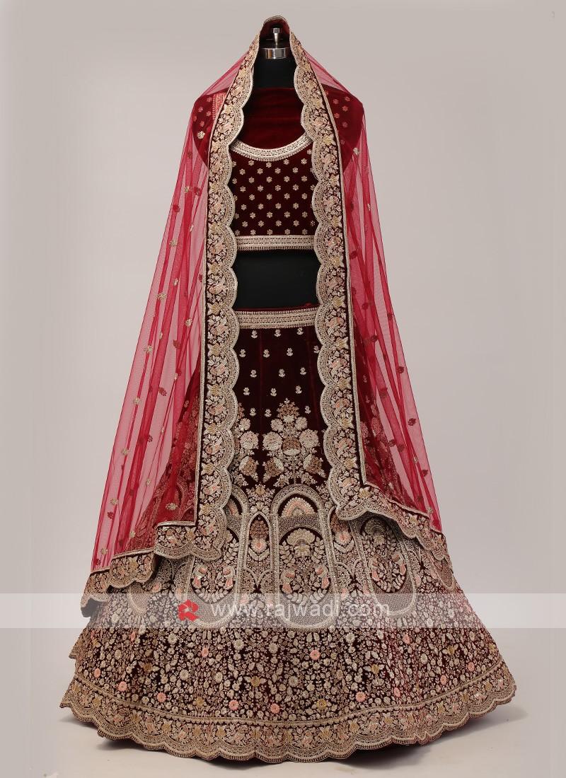 Dark Maroon Color Bridal Lehenga Choli