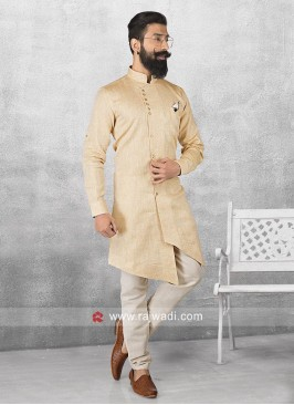 Golden Cream Color Pathani Set