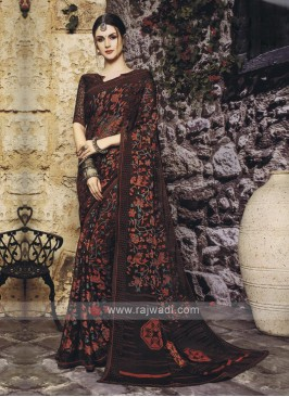 Dark Maroon Color Saree