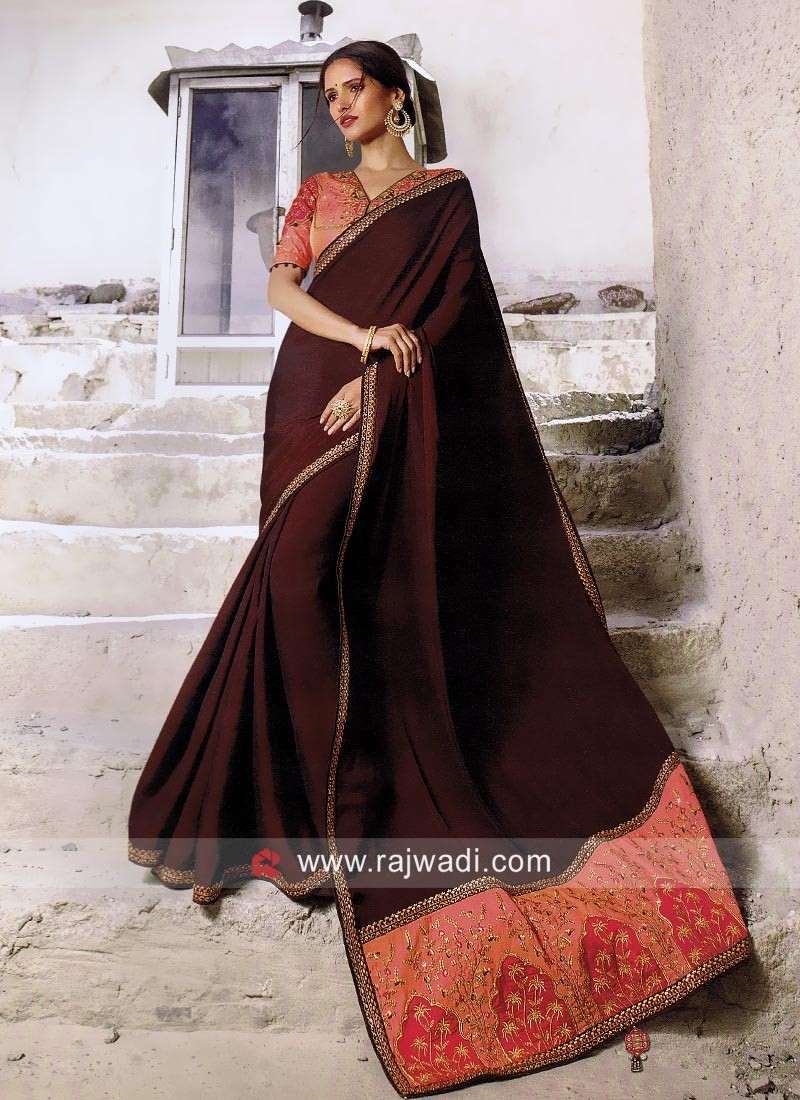 Dark Maroon Designer Saree with Blouse