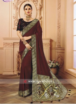 Dark Maroon Embroidered Saree