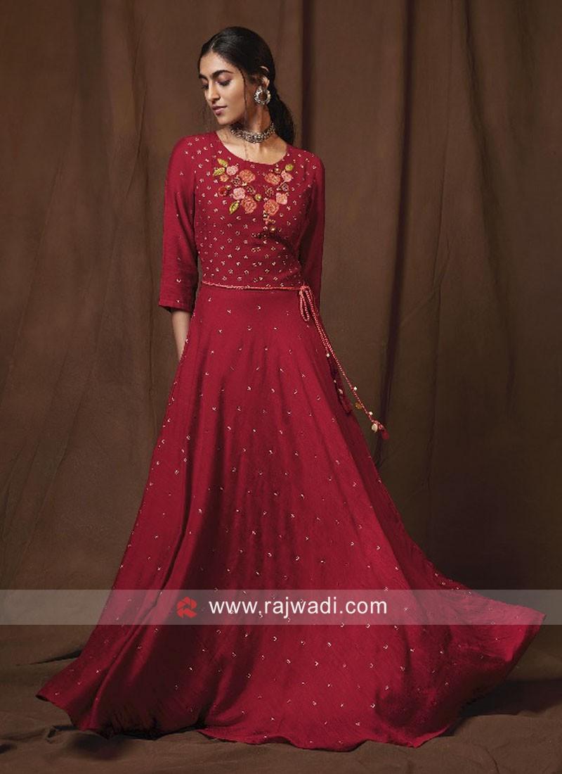Dark Maroon Floor Length Gown Style Kurti