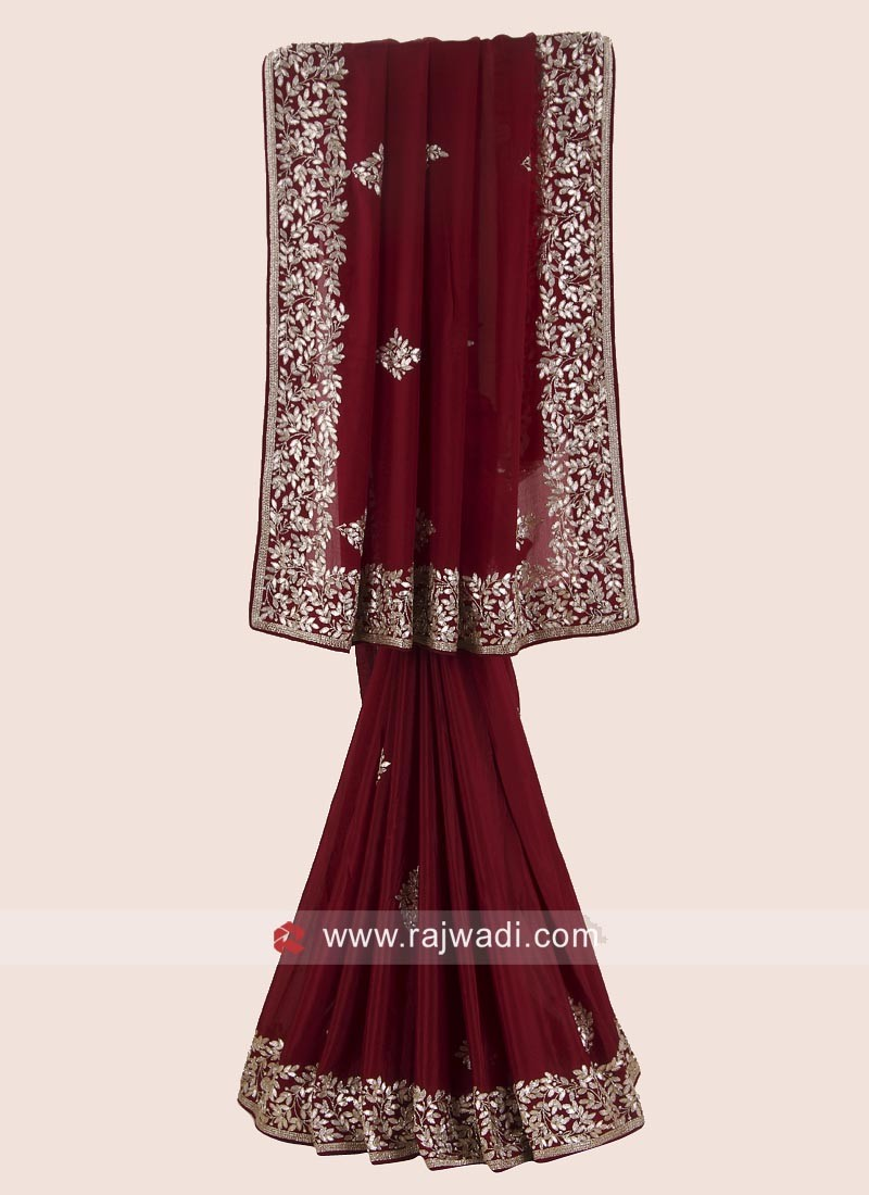 Dark Maroon Party Saree with Designer Border
