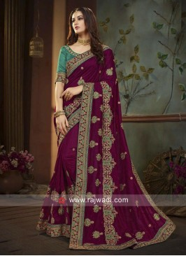 Dark Maroon Saree with Green Heavy Blouse