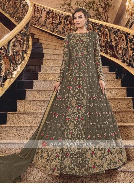 Dark Mehandi Green Net Heavy Anarkali Suit with Dupatta