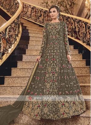 Dark Mehandi Green Net Heavy Anarkali Suit with Dupatta
