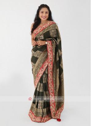 Dark Mehndi Green Banarasi Silk Saree