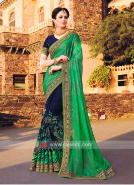 Dark Navy and Green Half Saree