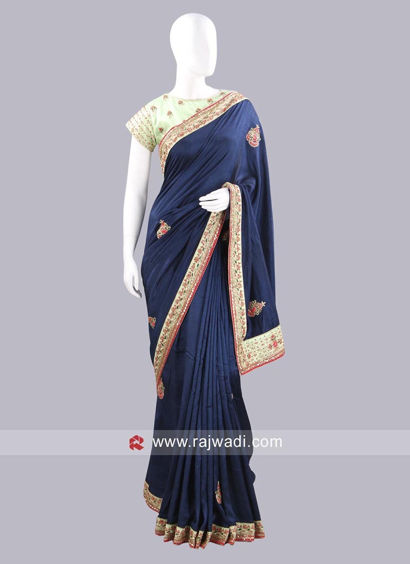 Dark Navy Blue Choli Saree