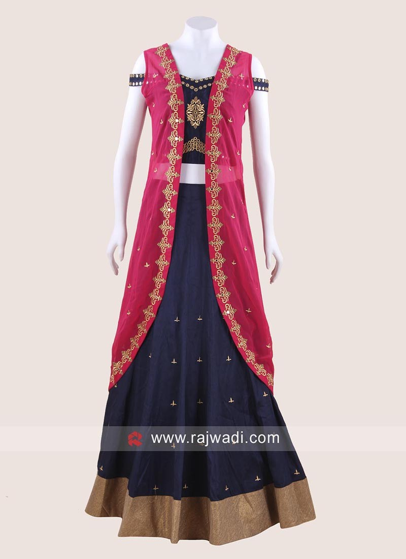 Dark Navy Blue Choli Suit with Jacket