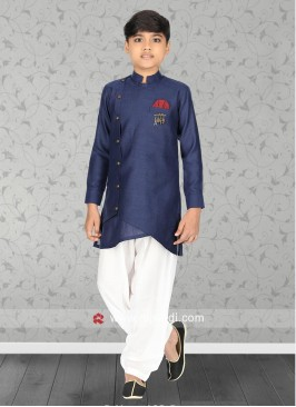 Stylish Blue Linen Kurta Set