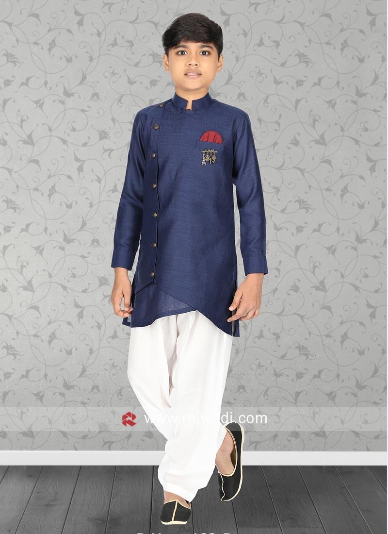 Stylish Blue Linen Kurta Set