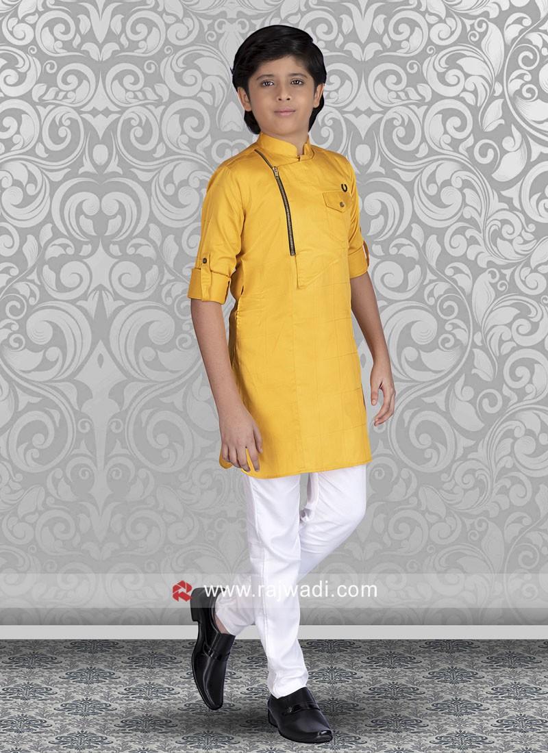 Mustard Yellow Color Kurta Set For Boys