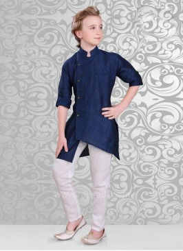 Dark Navy Blue Color Kurta In Linen Fabric