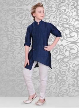 Dark Navy Blue Color Kurta In Linen Fabric