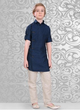Dark Navy Blue Color Kurta Pajama Set