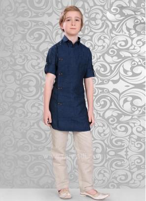 Dark Navy Blue Color Kurta Pajama Set