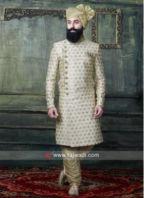 Golden Brocade Silk Indo Western For Wedding