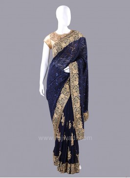 Dark Navy Blue Embellished Saree