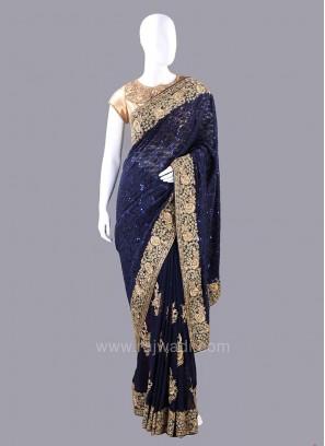 Dark Navy Blue Embellished Saree