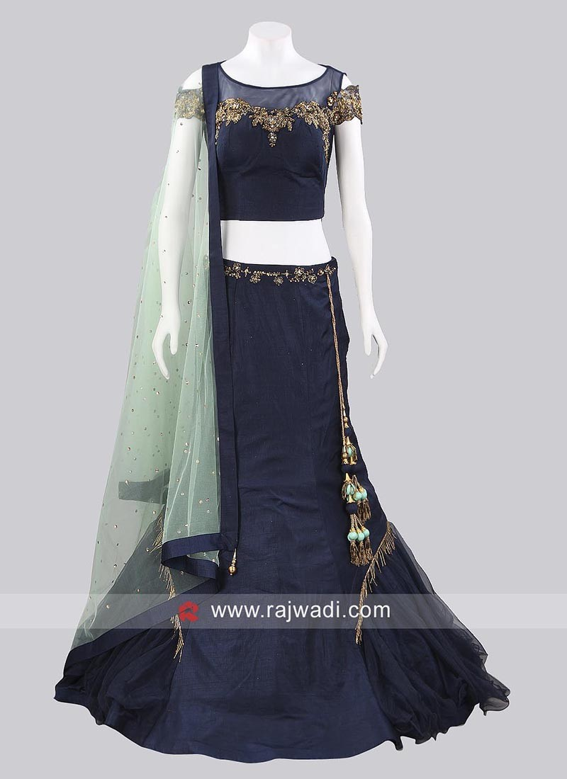 Dark Navy Blue Fish Cut Lehenga Choli