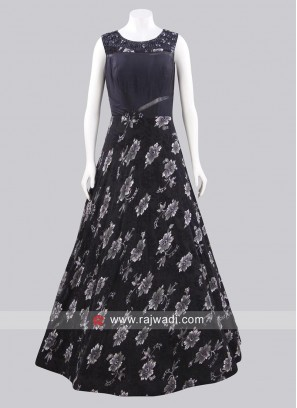 Dark Navy Blue Full Length Gown