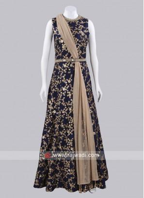 Dark Navy Blue Gown with Dupatta