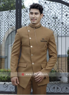 Charming Golden Color Jodhpuri Suit