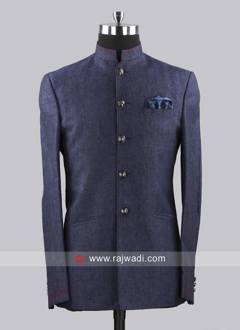 Dark Navy Blue Jodhpuri Suit